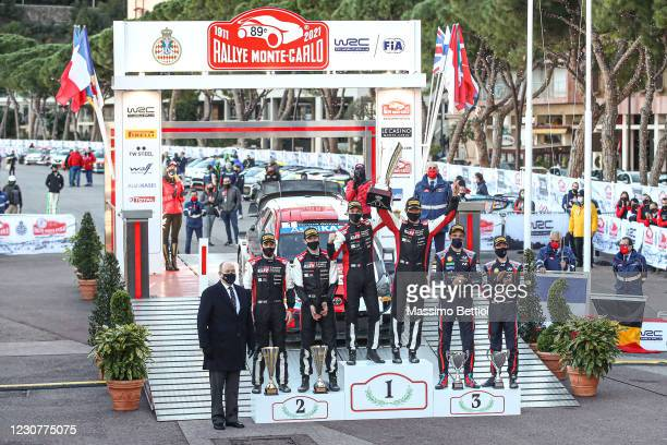 Prince Albert II of Monaco poses for a photo with the podium finishers at the FIA World Rally Championship Monte Carlo Day Four on January 24, 2021...