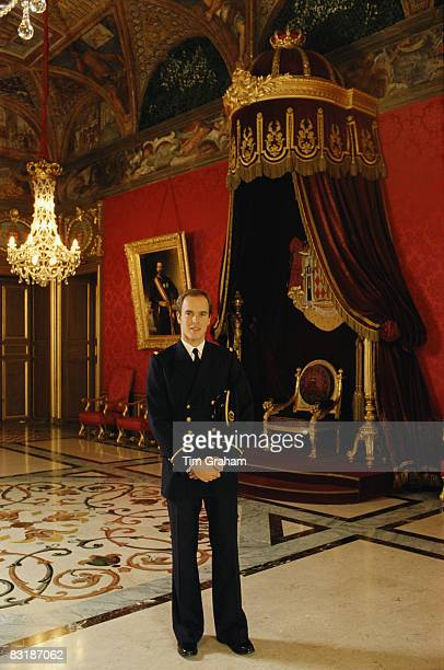 Prince Albert II of Monaco poses in his naval uniform of the Principality of Monaco in the Throne Room of the Royal Palace in Monaco December 1983 in...