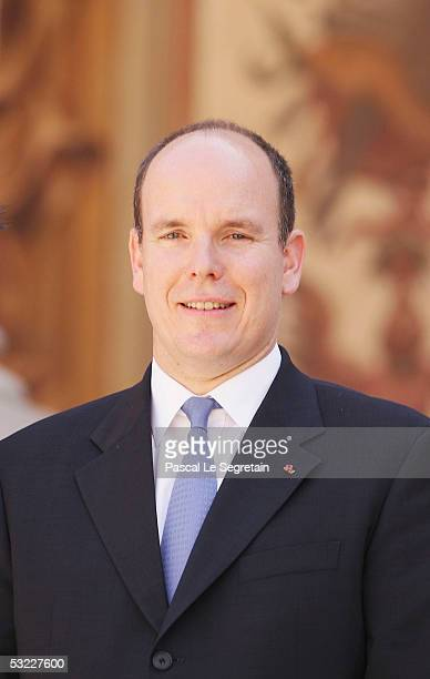 Prince Albert II of Monaco poses in the court yard of the Palace of Monaco for an official photograph on July 12 2005 in Monte Carlo Monaco The photo...