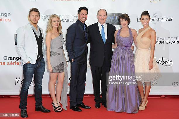 Prince Albert II of Monaco poses with the 'Bold Beautiful' cast Scott Clifton Kim Matula Don Diamont Hunter Tylo and Jacqueline Mac Innes Wood as...