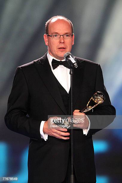 Prince Albert II of Monaco presents the Legend Award for Outstanding Contribution to Music on stage at the World Music Awards 2007 at the Monte Carlo...