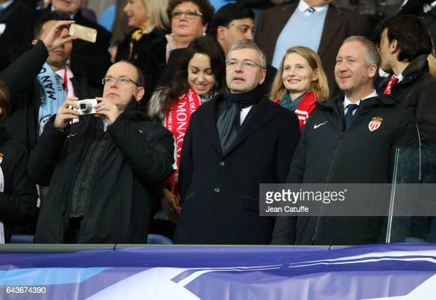 Prince Albert II of Monaco President of AS Monaco Dmitri Rybolovlev Vice President of AS Monaco Vadim Vasilyev celebrate a goal for Monaco during the...