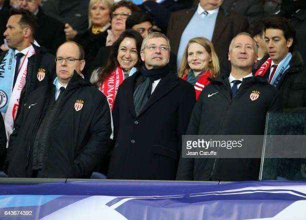 Prince Albert II of Monaco President of AS Monaco Dmitri Rybolovlev Vice President of AS Monaco Vadim Vasilyev celebrate a goal for Monaco during the...