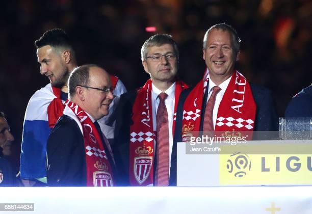 Prince Albert II of Monaco, President of AS Monaco Dmitri Rybolovlev, Vice President of AS Monaco Vadim Vasilyev during the French League 1...
