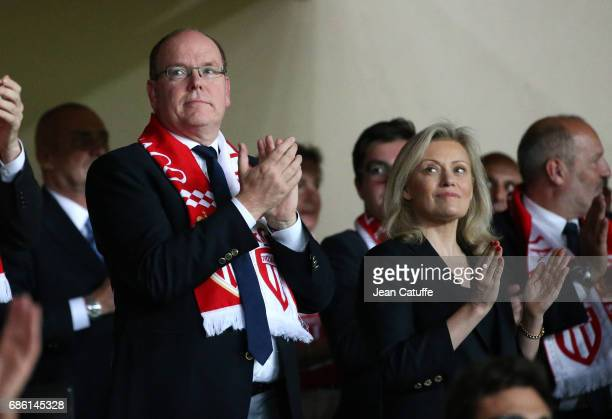 Prince Albert II of Monaco, President of LFP Nathalie Boy de la Tour attend the French Ligue 1 match between AS Monaco and AS Saint-Etienne at Stade...