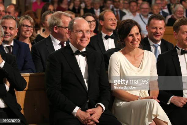 Prince Albert II of Monaco Prime Minister of Saxony Michael Kretschmer and his partner Annett Hofmann during the European Culture Awards TAURUS 2018...