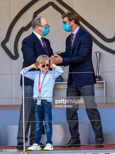 Prince Albert II of Monaco, Prince Jacques and Pierre Casiraghi attends the ABB FIA Formula E Monaco E-Prix on May 08, 2021 in Monaco, Monaco.