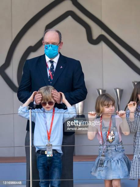 Prince Albert II of Monaco, Prince Jacques and Princess Gabriella attends the ABB FIA Formula E Monaco E-Prix on May 08, 2021 in Monaco, Monaco.