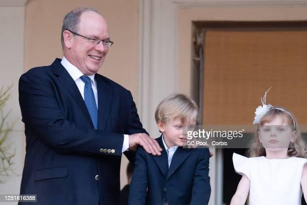 Prince Albert II of Monaco, Prince Jacques of Monaco and Princess Gabriella of Monaco attend the Fete de la Saint Jean on June 23, 2020 in Monaco,...