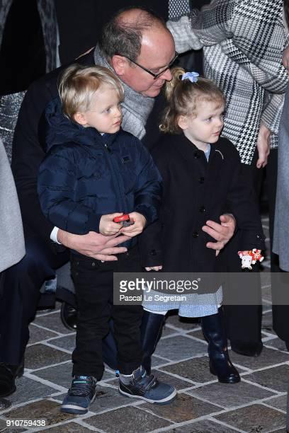 Prince Albert II of Monaco Prince Jacques of Monaco and Princess Gabriella of Monaco attend the ceremony of SainteDevote on January 26 2018 in Monaco...