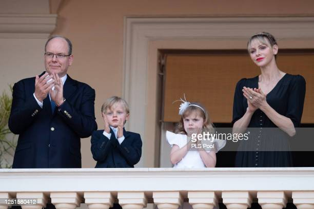 Prince Albert II of Monaco, Prince Jacques of Monaco, Princess Gabriella of Monaco and Princess Charlene of Monaco attend the Fete de la Saint Jean...