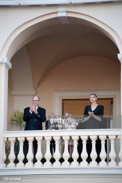 Prince Albert II of Monaco, Prince Jacques of Monaco, Princess Gabriella of Monaco and Princess Charlene of Monaco attend the Fete de la Saint Jean...