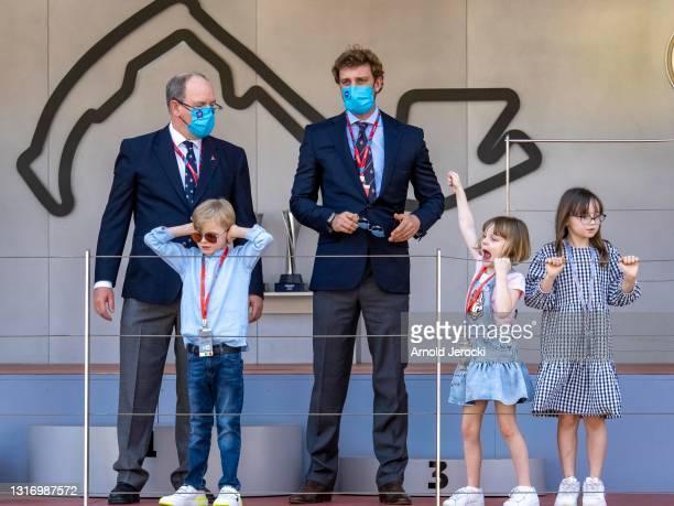 Prince Albert II of Monaco, Prince Jacques, Pierre Casiraghi, Princess Gabriela and Kaia Rose Wittstock attends the ABB FIA Formula E Monaco E-Prix...