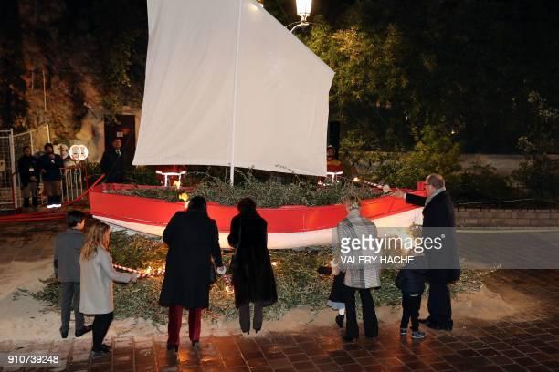 Prince Albert II of Monaco Prince Jacques Princess Charlene and Princess Gabriella take part in SainteDevote festivities on January 26 2018 in Monaco...
