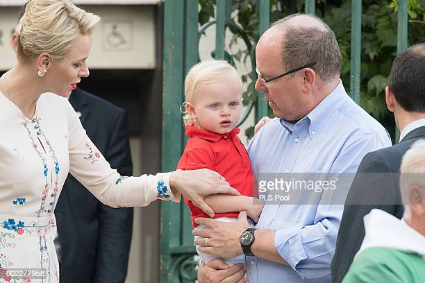 Prince Albert II of Monaco Prince Jacques Princess Charlene of Monaco attend the annual traditional 'Pique Nique Monegasque' on September 10 2016 in...