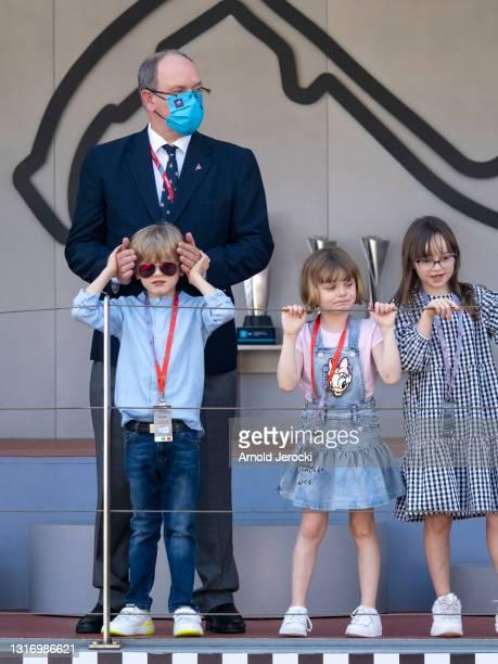 Prince Albert II of Monaco, Prince Jacques, Princess Gabriella and Kaia Rose Wittstock attends the ABB FIA Formula E Monaco E-Prix on May 08, 2021 in...