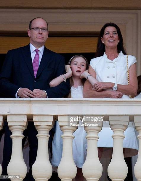 Prince Albert II of Monaco Princess Alexandra of Hanover and Princess Caroline of Hanover attend the Fetes de la St Jean celebrations on June 19 2010...