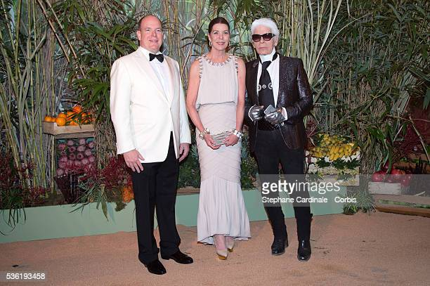 Prince Albert II of Monaco Princess Caroline of Hanover and Karl Lagerfeld attend The 62nd Rose Ball To Benefit The Princess Grace Foundation at...