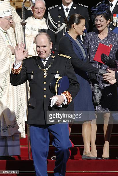 Prince Albert II of Monaco Princess Caroline of Hanover and princess Stephanie of Monaco leave the cathedral after a mass during the celebrations...