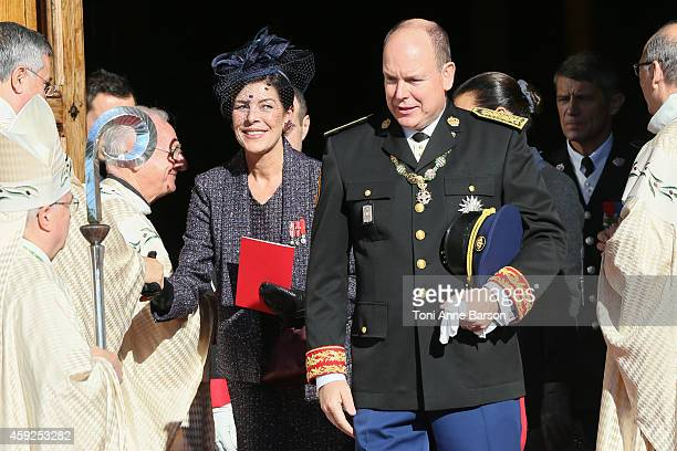 Prince Albert II of Monaco Princess Caroline of Hanover and Princess Stephanie of Monaco leave the Cathedral of Monaco after a mass during the...
