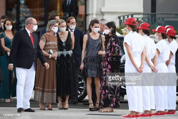 Prince Albert II of Monaco, Princess Caroline of Hanover, Beatrice Borromeo, Charlotte Rassam and Tatiana Santo Domingo arrive to attend the Red...