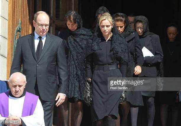 Prince Albert II of Monaco Princess Caroline of Hanover Princess Stephanie of Monaco and Charlene Wittstock attend Princess MelanieAntoinette...