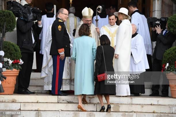 Prince Albert II of Monaco Princess Caroline of Hanover Princess Stephanie of Monaco and Princess Charlene of Monaco arrive at the Monaco Cathedral...