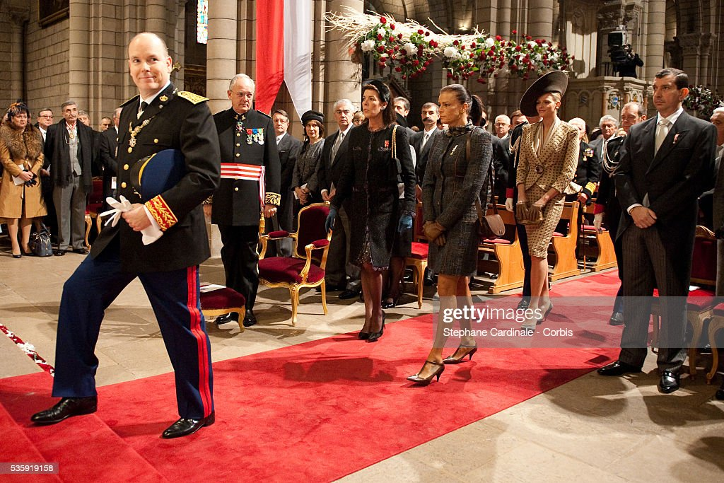 Prince Albert II of Monaco, Princess Caroline of Hanover, Princess Stephanie of Monaco and Charlene Wittstock arrive at the Cathedral before attending the annual traditional Thanksgiving Mass as part of Monaco National Day celebrations on November 19, 2010 in Monaco