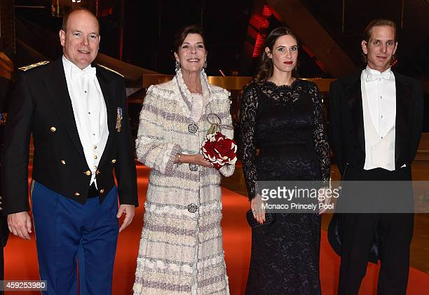 Prince Albert II of Monaco Princess Caroline of Hanover Tatiana Santo Domingo and Andrea Casiraghi attend the Monaco National Day Gala at Grimaldi...