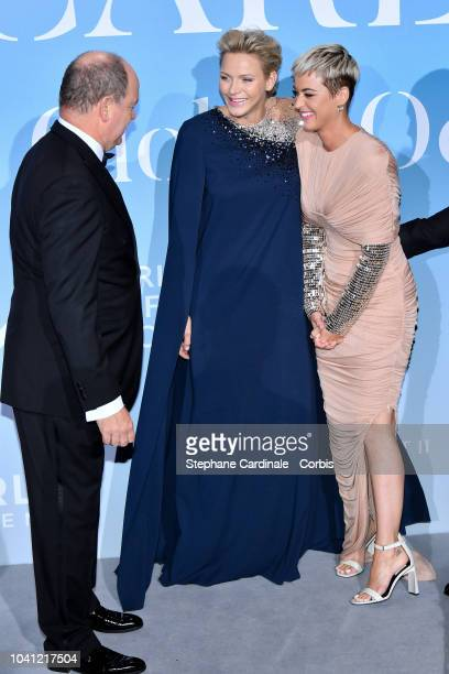 Prince Albert II of Monaco Princess Charlene of Monaco and Katy Perry attend the MonteCarlo Gala for the Global Ocean 2018 on September 26 2018 in...