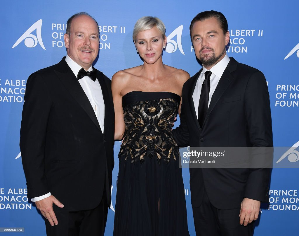 Prince Albert II of Monaco, Princess Charlene of Monaco and Leonardo DiCaprio attend the inaugural 'Monte-Carlo Gala for the Global Ocean' honoring Leonardo DiCaprio at the Monaco Garnier Opera on September 28, 2017 in Monaco, Monaco.