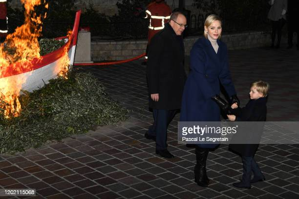 Prince Albert II of Monaco, Princess Charlene of Monaco and Prince Jacques of Monaco leave the Sainte Devote Ceremony. Sainte devote is the patron...