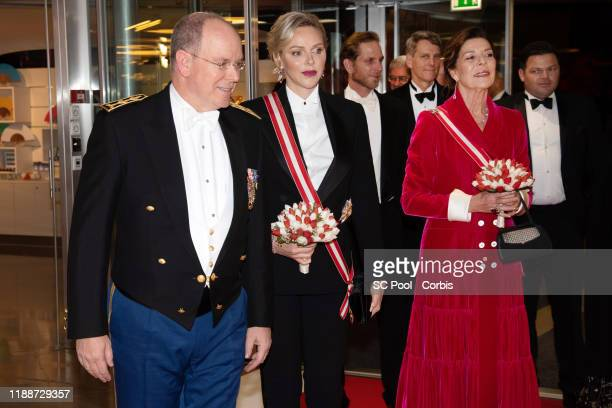 Prince Albert II of Monaco Princess Charlene of Monaco and Princess Caroline of Hanover attend the gala at the Opera during Monaco National Day...