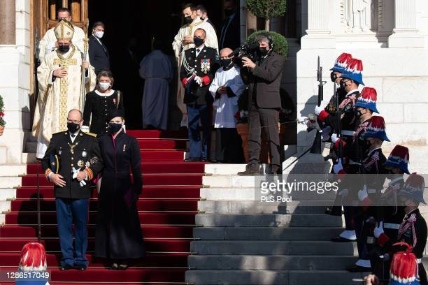 Prince Albert II of Monaco Princess Charlene of Monaco and Princess Caroline of Hanover leave the Monaco cathedral after a mass during the Monaco...