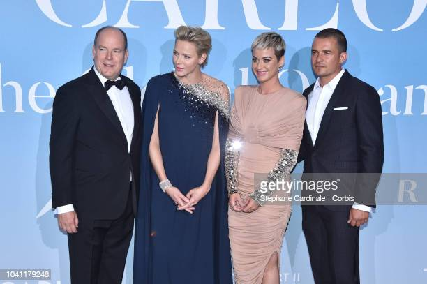 Prince Albert II of Monaco Princess Charlene of Monaco Katy Perry and Orlando Bloom attend the MonteCarlo Gala for the Global Ocean 2018 on September...