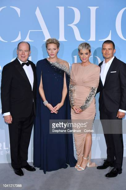 Prince Albert II of Monaco Princess Charlene of Monaco Katy Perry and Orlando Bloom attend the MonteCarlo Gala for the Global Ocean 2018 on September...