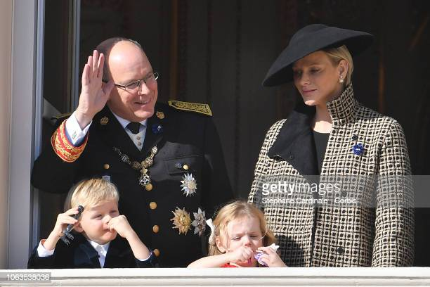 Prince Albert II of Monaco Princess Charlene of Monaco Prince Jacques of Monaco and Princess Gabriella of Monaco attend Monaco National Day...
