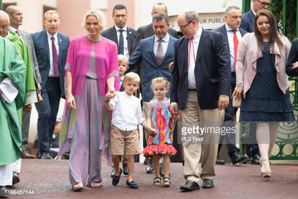 Prince Albert II of Monaco, Princess Charlene of Monaco, Prince Jacques and Princess Gabriella attend the traditional Monaco Picnic on September 06,...