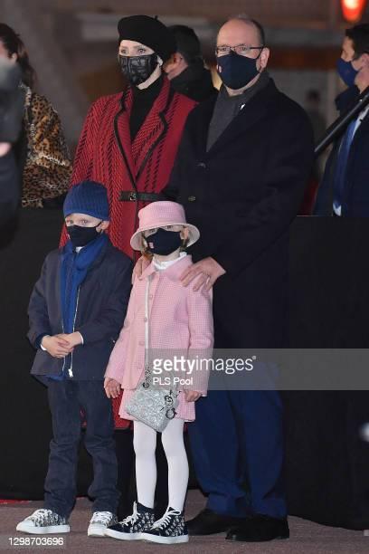 Prince Albert II of Monaco, Princess Charlene of Monaco, Prince Jacques of Monaco and Princess Gabriella of Monaco attend the ceremony of...