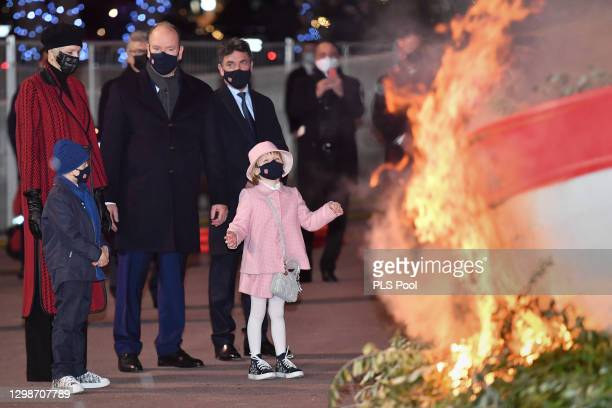 Prince Albert II of Monaco, Princess Charlene of Monaco, Prince Jacques of Monaco and Princess Gabriella of Monaco attend the ceremony of...