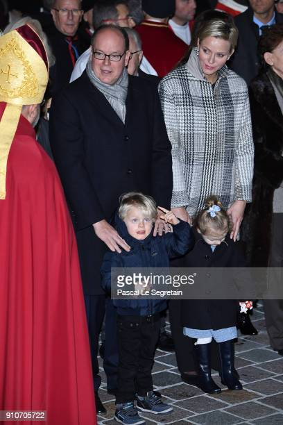 Prince Albert II of Monaco Princess Charlene of Monaco Prince Jacques of Monaco and Princess Gabriella of Monaco attend the ceremony of SainteDevote...