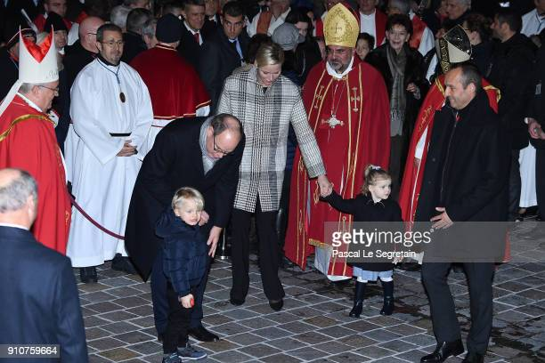 Prince Albert II of Monaco Princess Charlene of Monaco Prince Jacques of Monaco and Princess Gabriella of Monaco attend the ceremony of SainteDevote...
