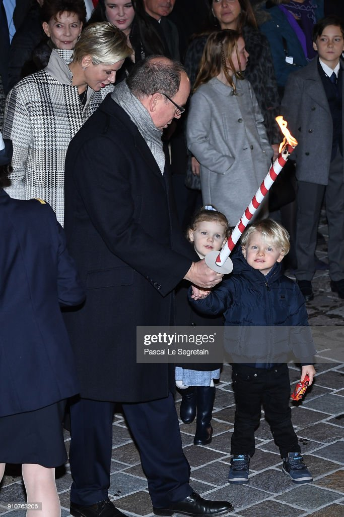 Prince Albert II of Monaco, Princess Charlene of Monaco, Prince Jacques of Monaco and Princess Gabriella of Monaco attend the ceremony of Sainte-Devote on January 26, 2018 in Monaco, Monaco.