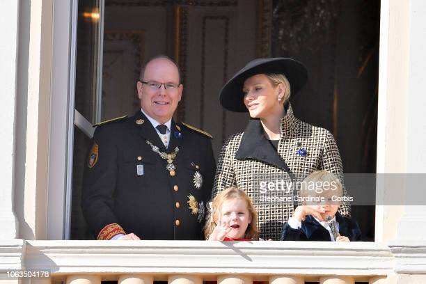 Prince Albert II of Monaco Princess Charlene of Monaco Princess Gabriella of Monaco and Prince Jacques of Monaco attend Monaco National Day...