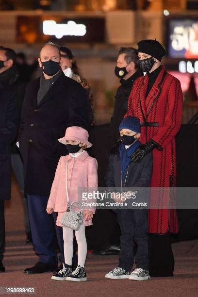 Prince Albert II of Monaco Princess Charlene of Monaco, Princess Gabriella of Monaco and Prince Jacques of Monaco attend the Sainte Devote Ceremony....