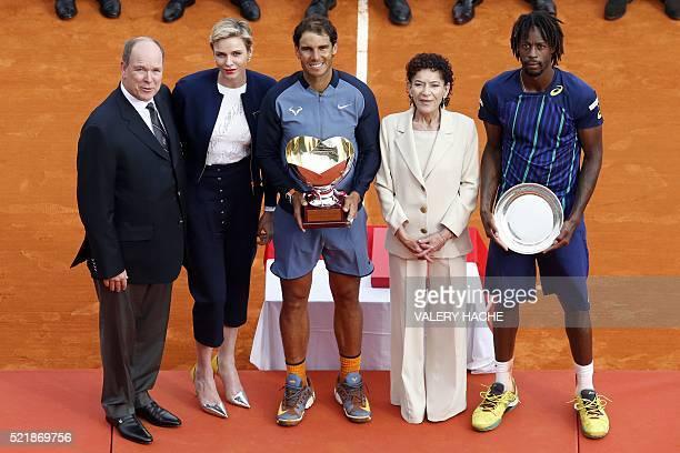 Prince Albert II of Monaco, Princess Charlene of Monaco, Spain's Rafael Nadal, Elisabeth Anne de Massy and France's Gael Monfils pose after the final...