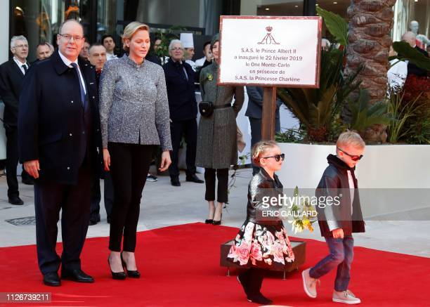 Prince Albert II of Monaco Princess Charlene of Monaco Twins Prince Monaco's Jacques and Princess Gabriella pose during the inauguration of the new...