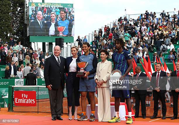 Prince Albert II of Monaco Princess Charlene of Monaco winner of tournament Rafael Nadal of Spain Elisabeth Anne de Massy and runnerup Gael Monfils...