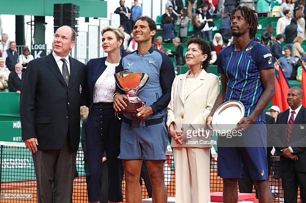 Prince Albert II of Monaco Princess Charlene of Monaco winner Rafael Nadal of Spain ElisabethAnne de Massy runnerup Gael Monfils of France look on...