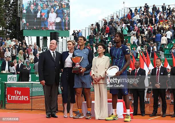 Prince Albert II of Monaco Princess Charlene of Monaco winner Rafael Nadal of Spain ElisabethAnne de Massy runnerup Gael Monfils of France look on...